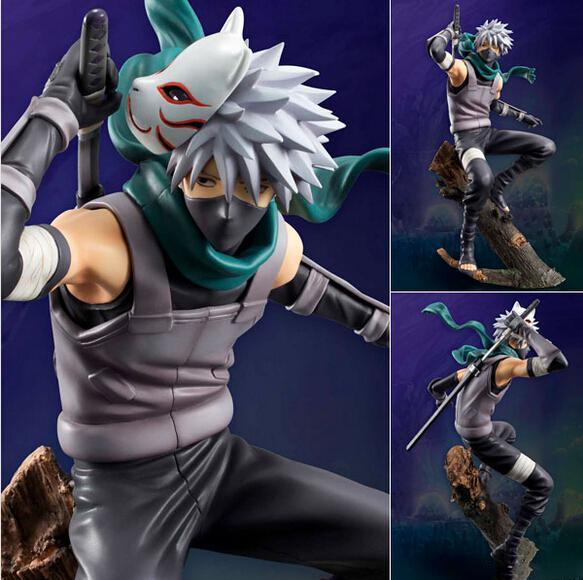 24cm New Animation Cartoon Naruto Hatake Kakashi With Fox Mask PVC Action Figure Toy packed in Box Kids Toys