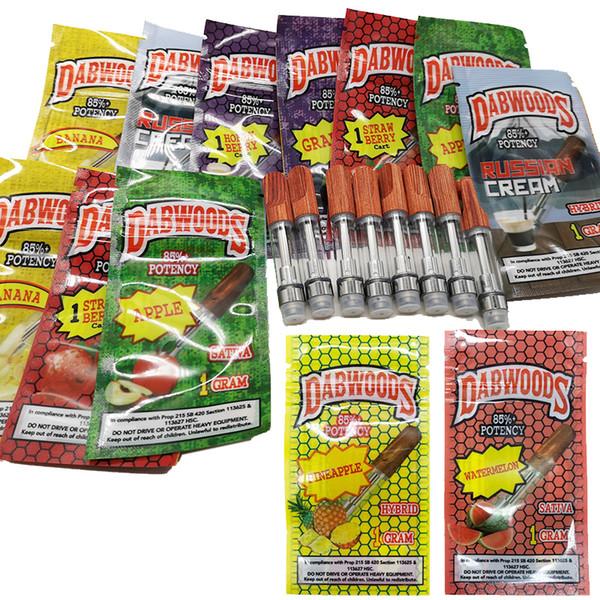 DABWOODS 0,8 mL de 1 ml Wood Tip Carrinhos vazio Vape Pen cartuchos de caixa de embalagem de 510 cerâmicas bobina 4 * 2.0mm Buraco TH205 vaporizador 13 Flavors