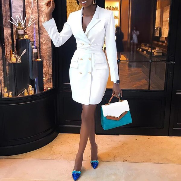 Элегантный профессиональный мини женщина костюмы платье двубортный блейзер куртка кнопки пальто зубчатый кардиган топы женская блейзер