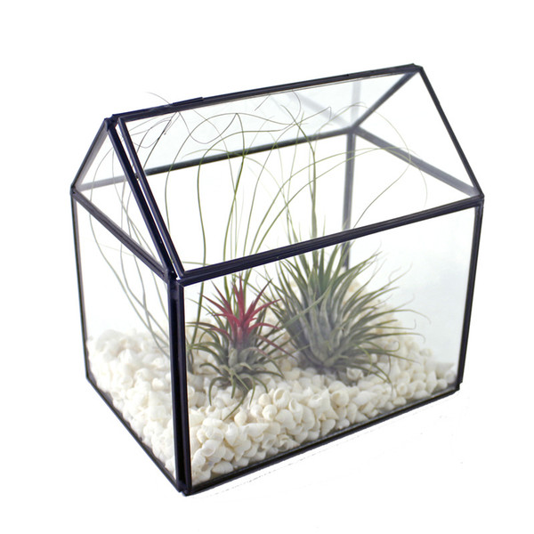 Glass House Terrarium Handmade Copper Container for Succulent Air Plant Greenhouse Decorative Flower Vase Tabletop Centerpiece