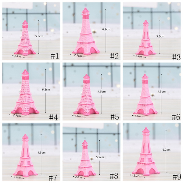 top popular Eiffel Tower Resin Craft Miniature Fairy Garden Desktop Room Decoration Micro Landscape Accessory Cactus Planter Gift Novelty Items GGA2013 2021