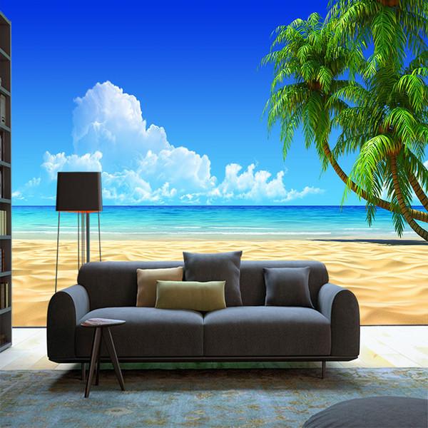 Özel plaj Hindistan Cevizi ağacı manzara duvar kağıdı 3d Akdeniz mavi gökyüzü ve beyaz bulutlar boyama oturma odası TV arka plan duvar
