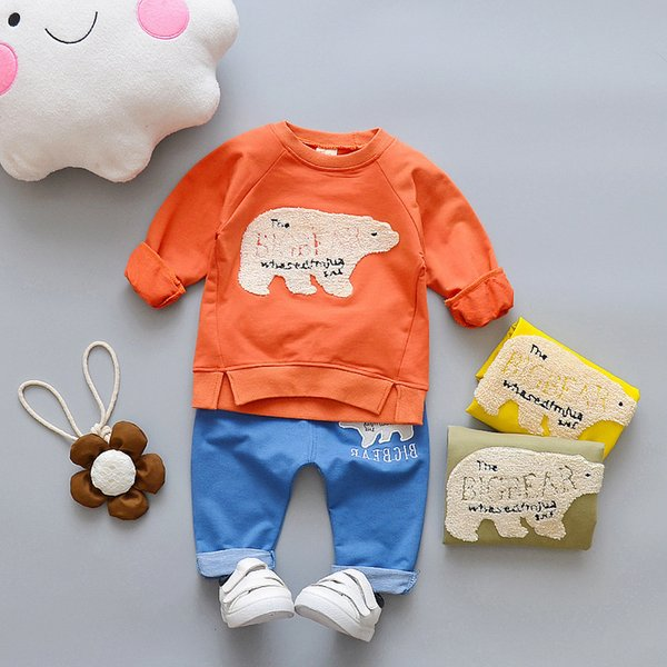 Spring Autumn Children Boys Girls Cotton Clothing Set Baby Cartoon Embroidery Bear T-shirt Pants 2Pcs/Set Kids Fashion Tracksuit
