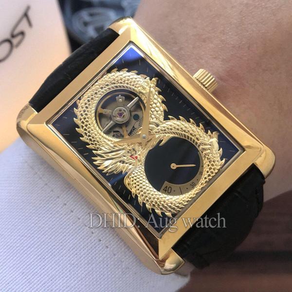 Relojes de lujo para hombres Reserva de energía Mecanismo de cuerda Mecánico Movimiento de oro Reloj de acero inoxidable 316L Correa de cuero 42mm Relojes para hombre R32