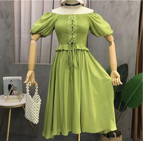 Con cordones Delante De Hombro Estilo rural Vestidos de fiesta de cóctel para mujer de moda Longitud de rodilla de manga corta Una línea Vestido de dama de honor de fecha