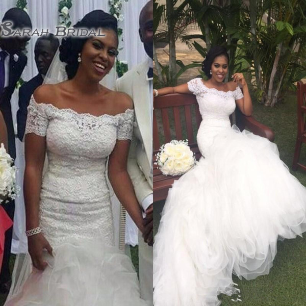 African Garden Mermaid Wedding Dresses Off Shoulders Lace Top Long Puffy Ruched Tulle Bridal Gowns Summer Country Wedding Dress
