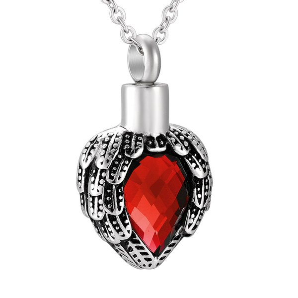 Birthstone with Wings Cremation Jewelry Urn Necklace Heart Memorial Keepsake Pendant for Ashes with Funnel Fill Kit(o chain)
