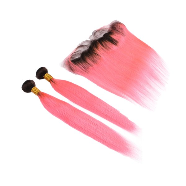 Double Wefted Two Tone 1B Pink Color Hair 2Bundles With Frontal Ombre Color pink Straight Lace Closure With 2Pcs Extensions 10-30 inch