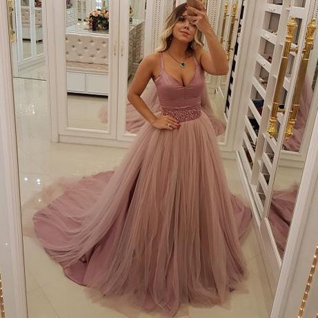 Blush Pink Prom Dresses Spaghetti Bead Waist Tulle Evening Gowns Cocktail Party Ball Bridesmaid Dress Special Occasion Formal Gown