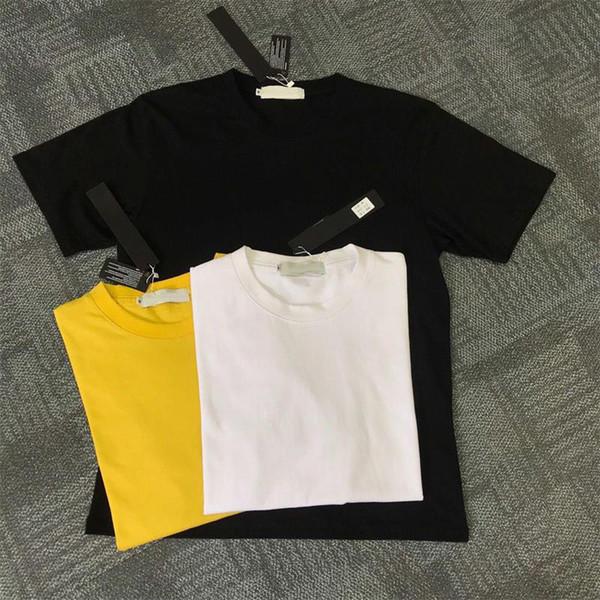 New Black White Amarelo Moda Masculina de Manga Curta Tee Hip Hop Moletons Roupas Casuais # 635 M-2XL