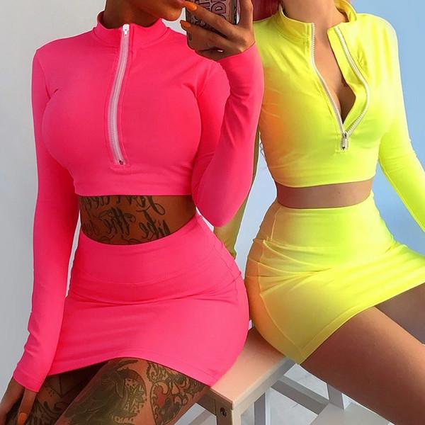 2019 new European fashion women's high waist sexy zipper patched neon color crop top shirt and pencil short skirt twinset dress suit