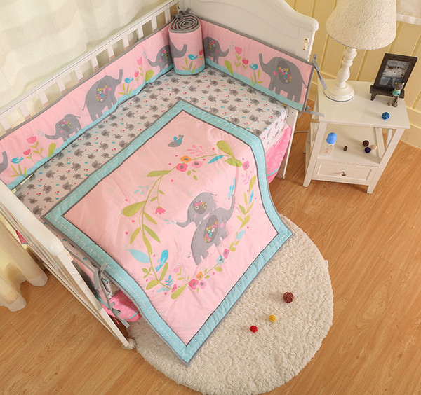 New arrival 7Pcs Baby girl bed linens cotton Cot bedding set Crib bumper set Flowers bloom Elephant Crib bed set Quilt/Bumper/skirt