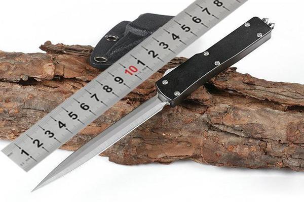 Micrófono de veneno mini utx-70 cuchillo de acción D2 hoja mango de aluminio de alta dureza cuchillo táctico automático Halo V cuchillo de caza para hombres al aire libre