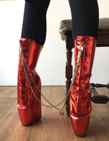 Metallic Red Lace Up Ankle Boots Goth Shoes With Gold Chains Punk Shoes Wedge Heelless Square Heels Boots For Party Shoes
