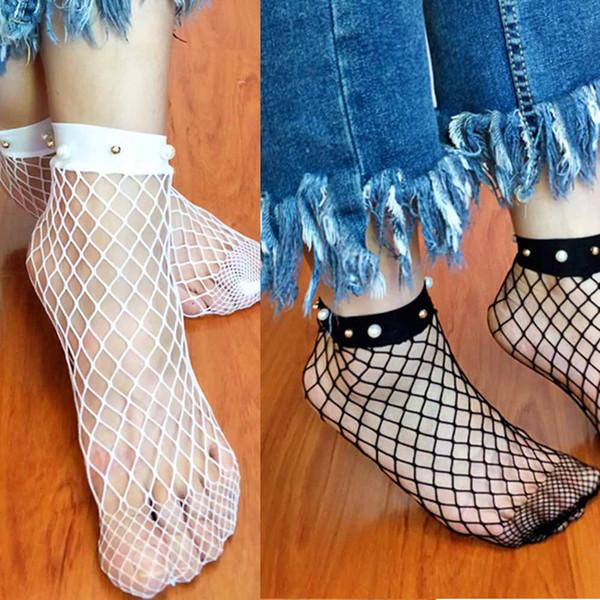 Chaussettes femmes d'été sexy bas résille à volants maille maille creuse dentelle fine résille chaussettes femmes calcitenes