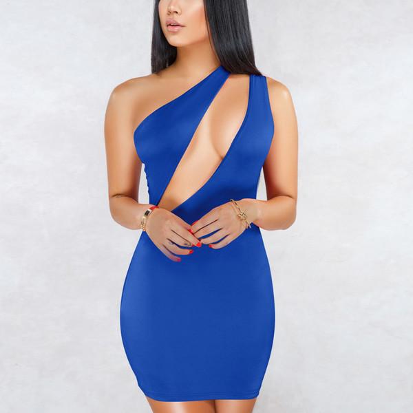 Вечернее платье из трикотажа Sexy Party на одно плечо женское тонкое платье