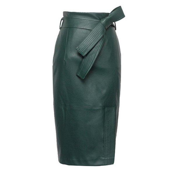 3xl 4xl Pu Leather Skirt Women Plus Size Autumn Winter Sexy High Waist Faux Leather Skirts Womens Belted Fashion Pencil Skirt J190619
