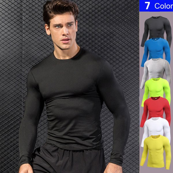 Nouveau Gym Fitness Collants Haut À Séchage Rapide Courir T-shirts Sport Compression Shirt Maillots De Football À Manches Longues Rashgard T-shirt Q190521
