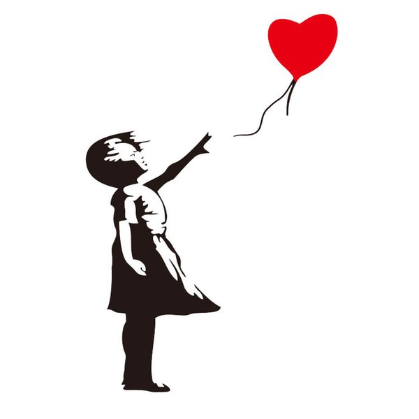 Banksy Childhood Vinyl Wall Decal DIY 30*58CM Removable Girl Red Balloon Wall Sticker Murals for Living Room Bedroom Decoration