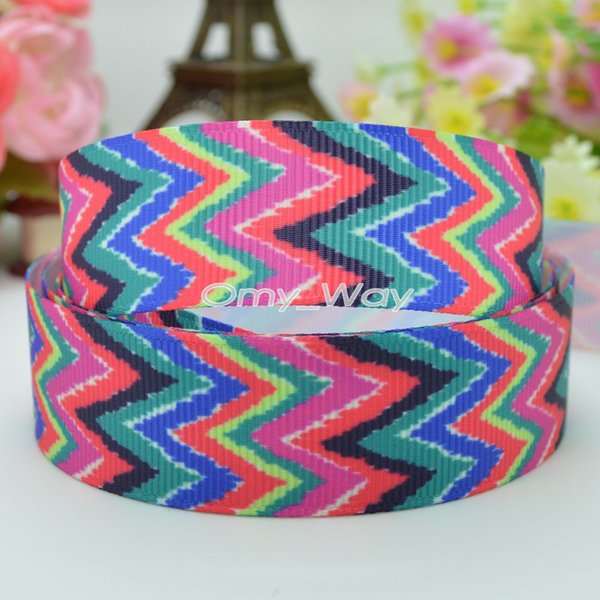 "Lilly Ribbons 7/8"" 22mm Chevron Printed Grosgrain Ribbon Hair Bow DIY Handmade Crafts Ribbon Print 50Yards"