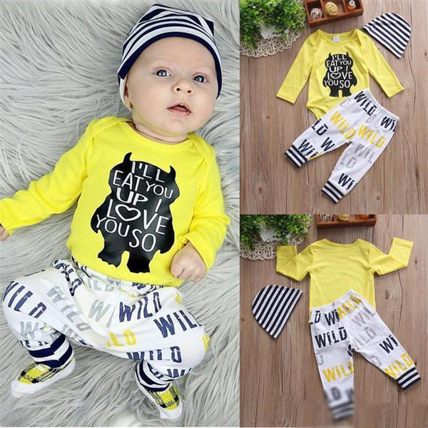 Baby Boy Clothes Newborn Long Sleeve Bear Letter Printed Yellow Romper+Pants+Hat 3pcs Set Children Clothing Sets