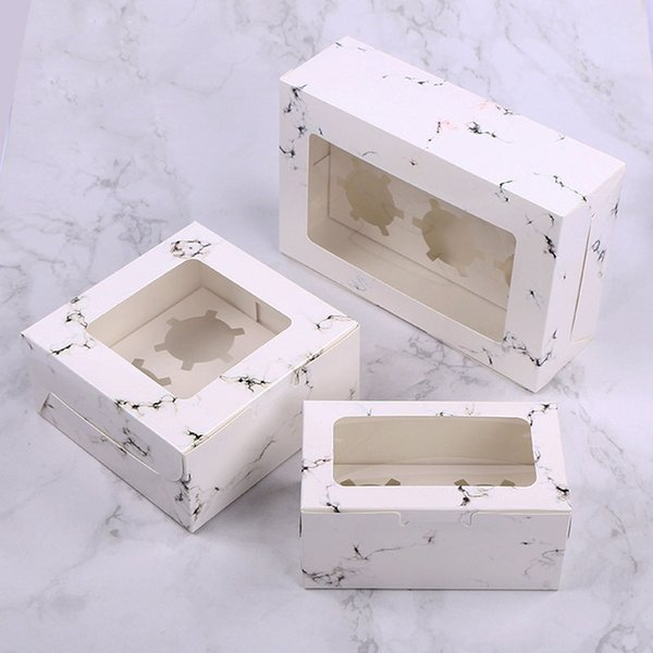 3 Size Marble Design Cupcake Paper Boxes Cake Boxes Cookie Packaging Box for Weeding Birthday Christmas Party