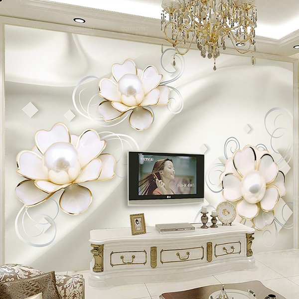 Custom Mural Wallpaper 3D Stereo Flower Pearl Photo Wall Murals European Style Living Room TV Sofa Backdrop Luxury Wall Painting