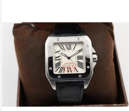 العلامة التجارية الجديدة الرياضة الفاخرة الجودة XL الرجال السود تاريخ التلقائي الساعات الميكانيكية الرجال الساعات الرياضية حزام جلد 40MM الأصل المشبك 5345