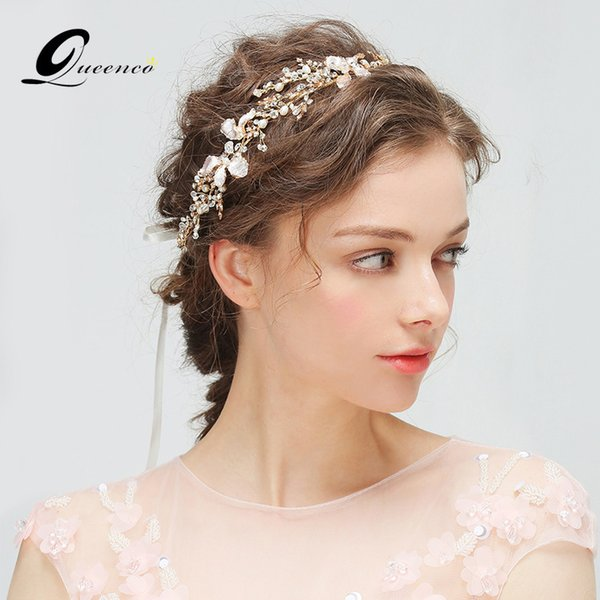 꽃 웨딩 티아라 신부 머리띠 은색과 금색 티아라 Hairband와 진주 모조 다이아몬드 헤드 피스 J190703