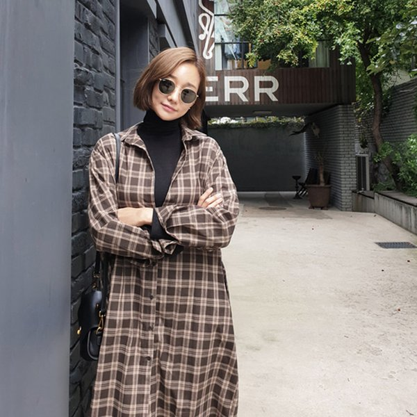 FGLAC 2019 new Arrivals blouse womens tops and blouses casual modis Long shirt ins Long Sleeve Turn Down Collar Chiffon plaid