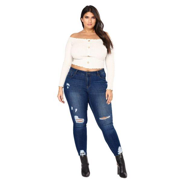 Women 5XL Plus Size Jeans Casual Push Up Denim Jeans Strech High Waist Skinny Pants Slim Fit Bodycon Trousers #YL1