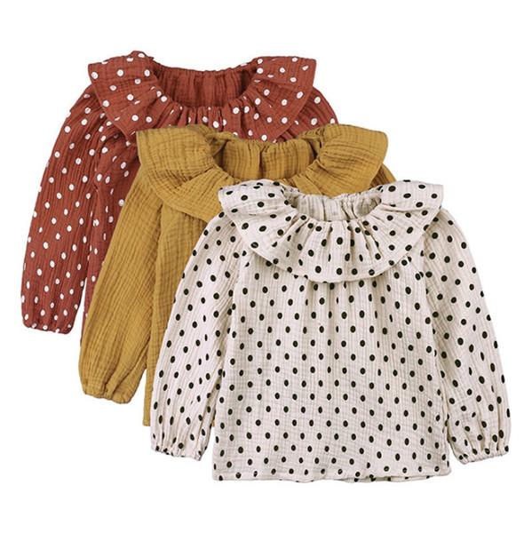 Baby Mädchen Kleidung Baumwolle Leinen Mädchen T-shirt Punkte Baby Mädchen Tees Langarm Kinder Tops Atmungsaktive Kinder Kleidung 3 Farben YW2479