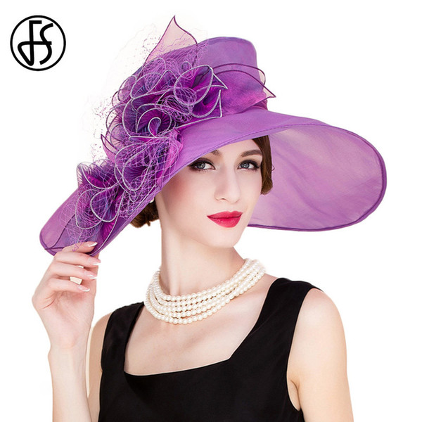 FS Ladies Kentucky Derby Organza Church Fedoras Summer Flower Sun Hats For Women Vintage Purple Large Wide Brim Flat Wedding Hat D19011103