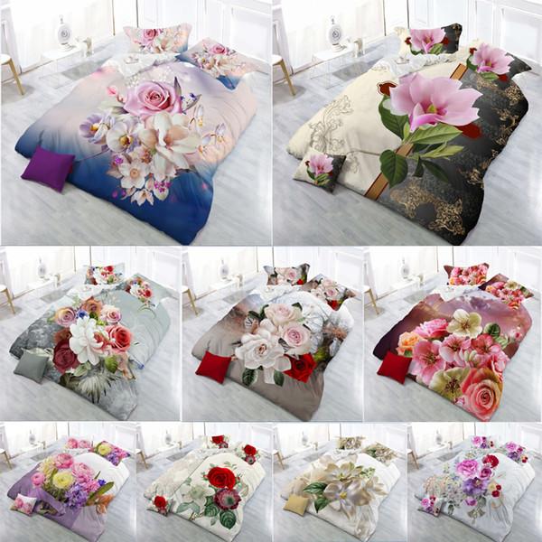 Hot Sale 2018 New 3D Bedding Sets Reactive Print Flowers Pattern Quilt Cover Bed Sheet Pillow Case 4PCS