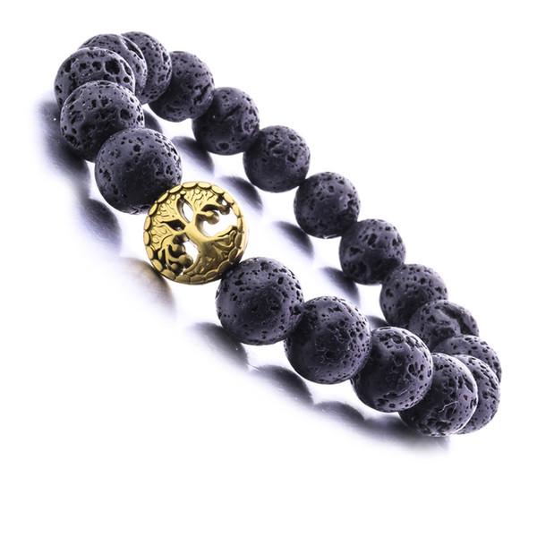 Nouveau 8MM Pierre De Lave Perles Arbre De Vie Bracelet Diy Aromathérapie Huile Essentielle Diffuseur Bracelet
