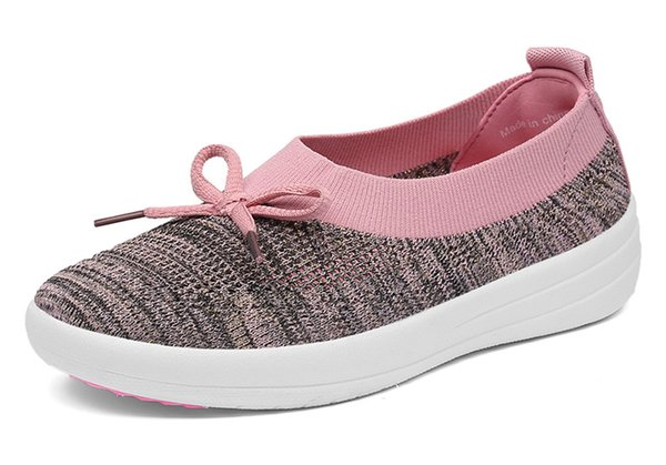EOFK 2019 New Women Ballet Flats Knit Elastic Fabric Shoes Woman Memory Foam Insole Slip on Butterfly Knot Casual Shoes