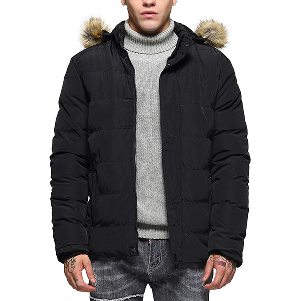 Men's Winter Fashion Hoodie Pure Color Thickened Cotton Padded Jacket Coat bomber jacket doudoune homme #4N23