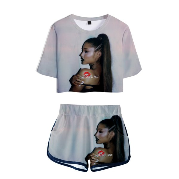 Ariana Grande Ladies Printed Women Sets New Album Oversize Navel short sleeve and Short Pants O-neck Summer Set XXS-2XL
