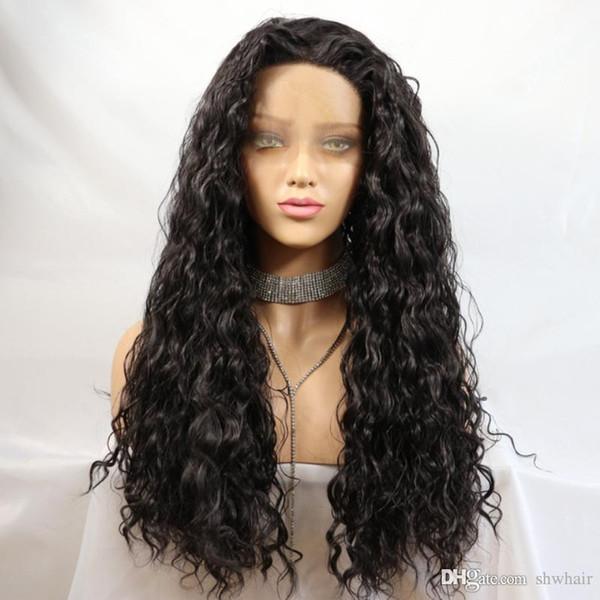 Curly Lace Wigs Synthétique Naturel À La Recherche Résistant À La Chaleur Fibre Sans Colle Pas Cher Synthétique Perruque En Dentelle Avant Bouclés Pour Afro-Américain