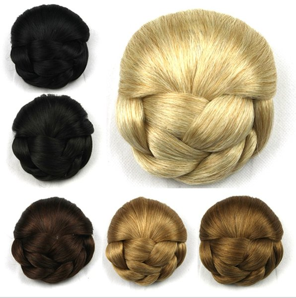 Panino per capelli sintetico in seta ad alta temperatura semplice ed elegante Panino per capelli con clip da donna a 6 colori nero / oro / marrone