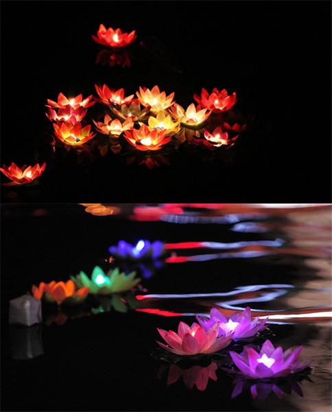 Nuovo arrivo Diametro 19 cm LED Lotus Lamp in Colorful Cambiato Floating Water Pool Wishing Light Lamps Lanterne per la decorazione del partito