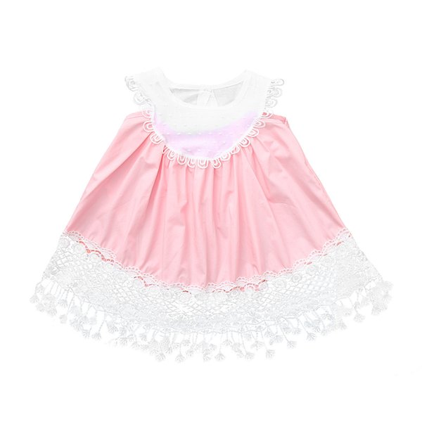Pink Toddler Baby Girl Ruffles Sleeveless Floral Patchwork Lace Sundress Clothe Dress new fashion Toddler Kid Baby Girl