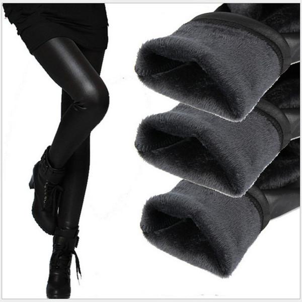Femmes Pantalon D'hiver Faux En Cuir Leggings Dame Botte Pantalon Épais Chaud Velvet Legging Slim Crayon Culotte Pantalon En Cachemire