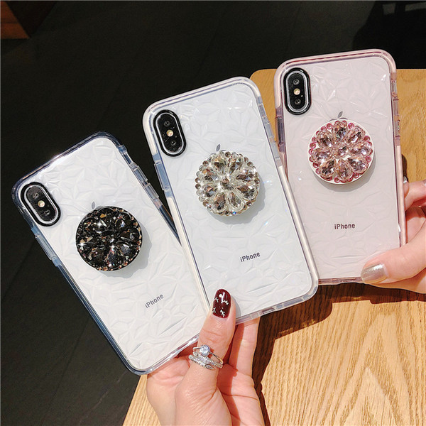 Stand holder diamond tran parent clear tpu air cu hion drop full protective hockproof ca e for iphone 11 pro max 2019 xr x x 6 6 7 8 plu