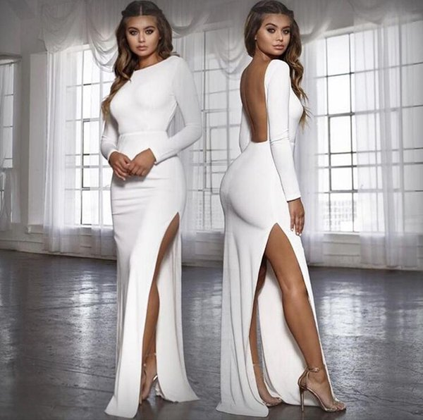 best selling Dresses Europe and the United States sexy backless split long-sleeved and ground dress autumn and winter explosions women's clothing