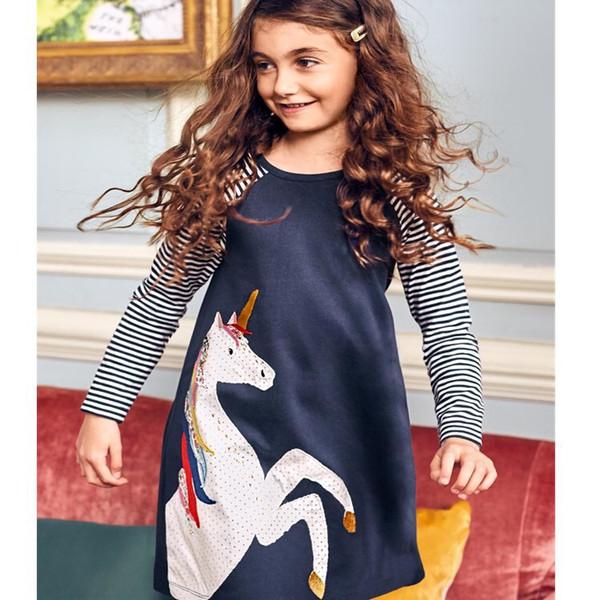 INS Fashional Girls Dress Long Sleeved Spring Summer Children Girls Unicorn Designer Pocket Animal Embroiderd Cotton Princess Dresses