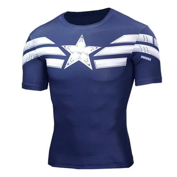 Avenger Alliance U.s.a Captain Steel Chivalrous Spider Chivalrous Superman Tights Man Motion Self-cultivation Short Sleeve T Pity