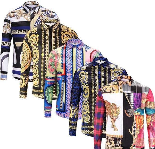 2019 Nouveau Hommes Chemises Hommes d'affaires hommes shirt décontracté chemises habillées à manches longues Méduse Rétro luxet-shirt VERSACE