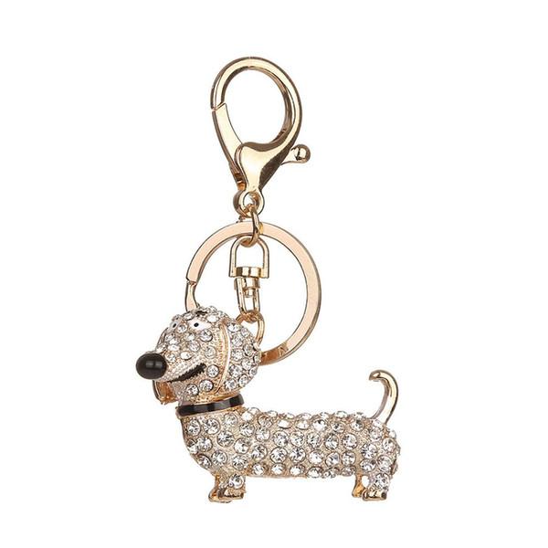 Filhote de Cachorro bonito Charme Chaveiro Moda Cristal Espumante Presente Único e Lembrança Pendurado Chaves ou Automóvel Pingentes