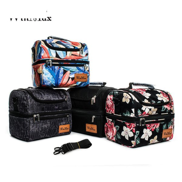 2019 good quality Double Decker Cooler Lunch Bags Thicken Insulated Thermal Food Picnic Bags Cooler Tote Handbags Men Women Lunch Bags